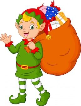 Karikatur-weihnachtselfe, die einen sack geschenke trägt