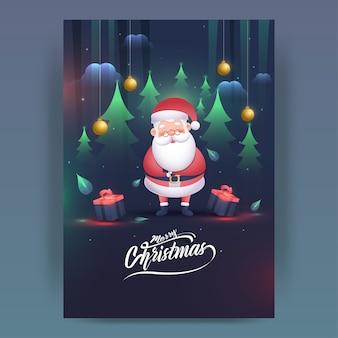 Karikatur-weihnachtsmann-charakter mit geschenkboxen