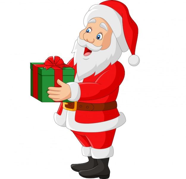 Karikatur weihnachtsmann, der ein geschenk hält