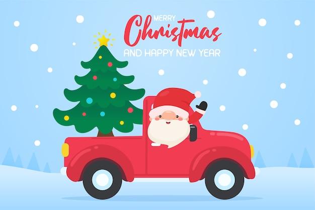 Karikatur-weihnachtsmann, der ein rotes auto zum weihnachtsbaum-lieferservice fährt