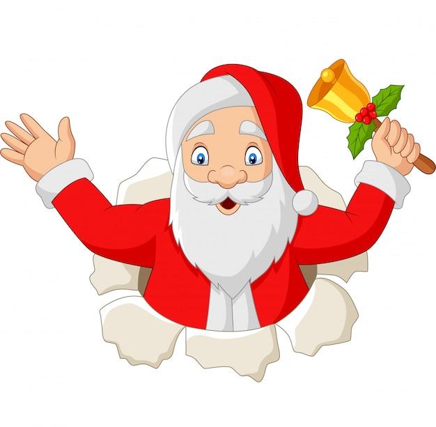 Karikatur weihnachtsmann, der eine glocke hält