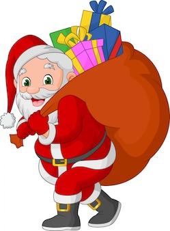 Karikatur weihnachtsmann, der einen sack geschenke trägt