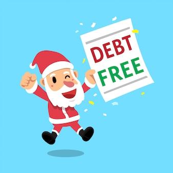 Karikatur weihnachtsmann der frohen weihnachten mit schuldenfreiem buchstaben
