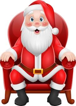 Karikatur-weihnachtsmann, der im sessel sitzt