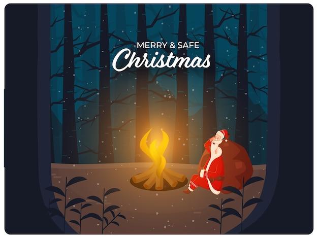 Karikatur-weihnachtsmann, der mit schwerem sack vor lagerfeuer auf schneefall-wald schläft