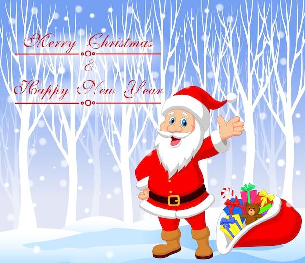 Karikatur weihnachtsmann mit glücklichem weihnachtshintergrund