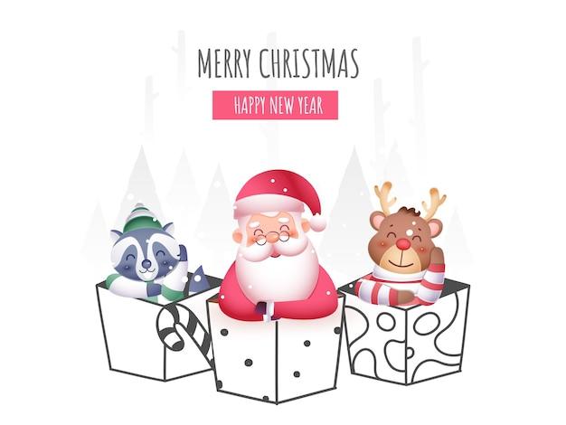 Karikatur-weihnachtsmann mit rentier und waschbär in einer anderen geschenkbox