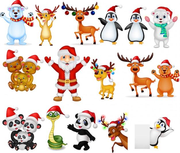 Karikatur weihnachtsmann mit sammlungssatz vieler tiere