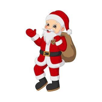 Karikatur-weihnachtsmann mit tasche lokalisiert auf weiß