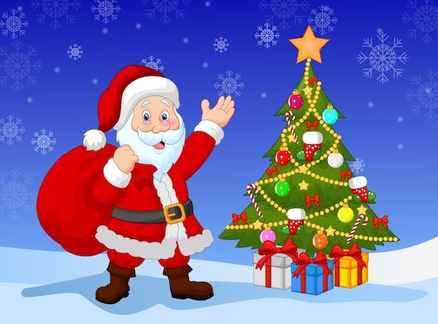 Karikatur weihnachtsmann mit weihnachtsbaum
