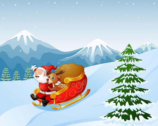 Karikatur weihnachtsmann und ein renreiten