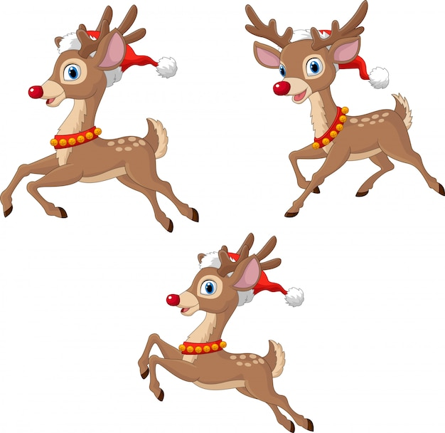 Karikatur-weihnachtsren, die weihnachtsmann-hut tragen