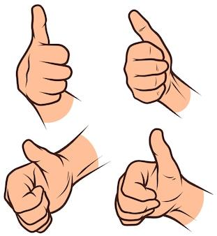 Karikatur weiße menschliche händeikonen eingestellt