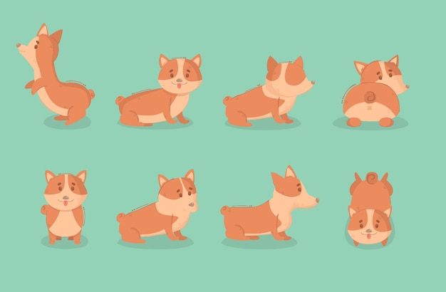 Karikatur welsh corgi dog illustration