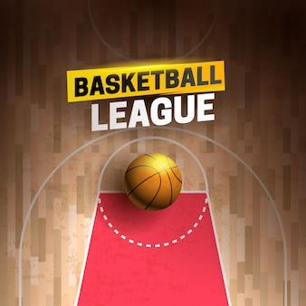 Karikatur-werbeplakat, fahne mit basketballliga