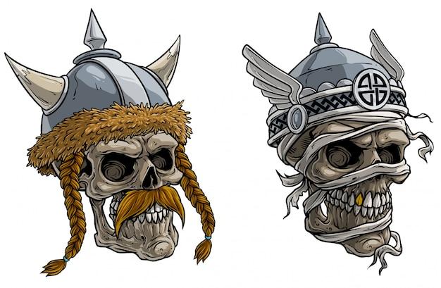 Karikatur wikinger kriegerschädel im metallsturzhelm