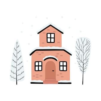 Karikatur winterhaus und bäume mit schnee bedeckt.