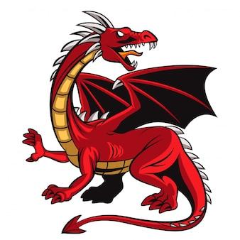 Karikatur wütendes rotes drachenmaskottchen