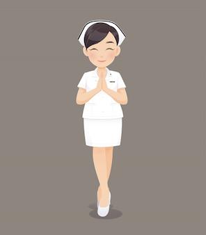 Karikaturärztin oder -krankenschwester in der weißen uniform, die ein klemmbrett, lächelndes weibliches krankenpflegepersonal hält