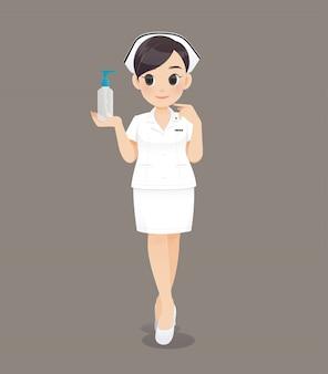 Karikaturärztin oder -krankenschwester in der weißen uniform, lächelndes weibliches krankenpflegepersonal