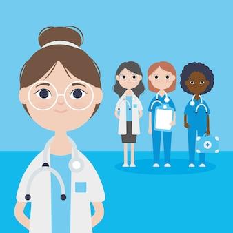 Karikaturärztin und gruppe von ärztinnenfrauenpersonal über blauem hintergrund, buntes design