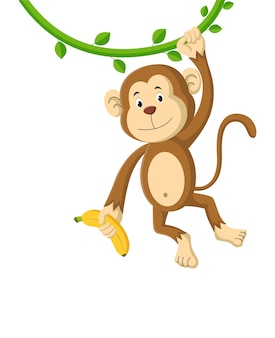 Karikaturaffe, der eine banane hält