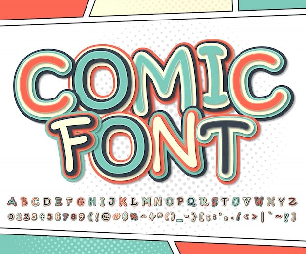 Karikaturalphabet in der comics- und pop-arten-art bunter guss von buchstaben und von zahlen für dekorationscomics-buchseite