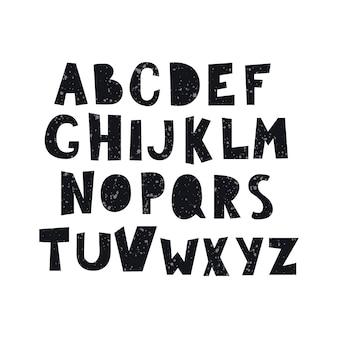 Karikaturalphabet mit spritzer lokalisiert auf weißem hintergrund. buchstaben in schwarzer farbe, handgezeichnete schriftart flache artillustration