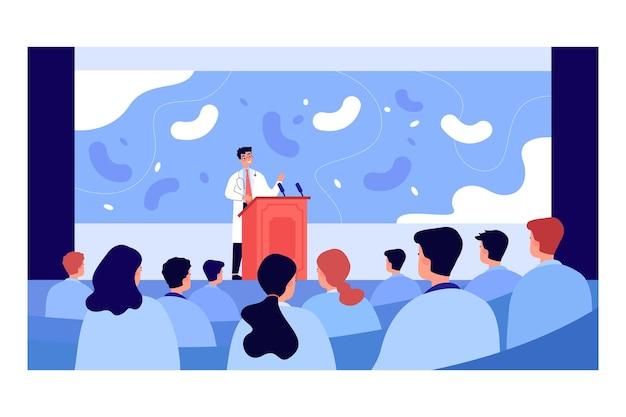 Karikaturapotheker, der präsentation auf seminar gibt