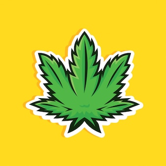 Karikaturart-cannabisblatt auf gelbem hintergrund. grünes marihuana-blatt.