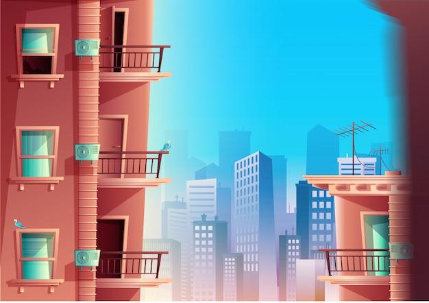 Karikaturart der gebäudefassade in der seitenansicht mit balkonen und wolkenkratzern auf dem hintergrund. mehrstöckiges gebäude mit fenstern und türen, hausdächern.