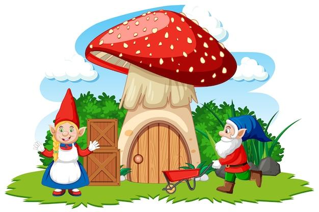 Karikaturart der gnome und des pilzhauses auf weißem hintergrund