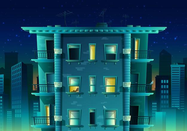 Karikaturart nachtstadt auf blauem licht. gebäude mit vielen etagen und fenstern mit balkon.