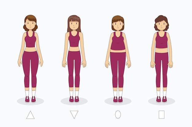Karikaturarten der weiblichen körperformen