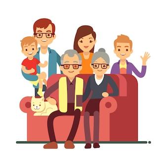 Karikaturartfamilie lokalisiert auf weiß. großeltern-tagesglückliches altes paar mit enkeln