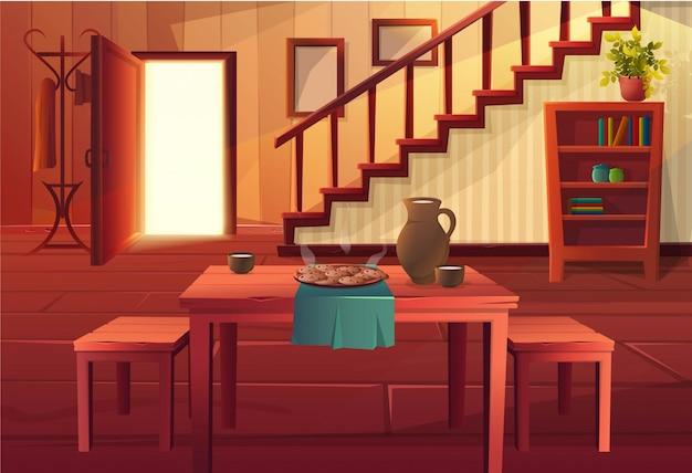 Karikaturartillustration des hausinneren. offene eingangstür mit treppe und rustikalen vintage-möbeln und holzboden. esstisch mit warmer mahlzeit darauf.