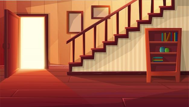 Karikaturartillustration des hausinneren. offene eingangstür mit treppe und rustikalen vintage-möbeln und holzboden.
