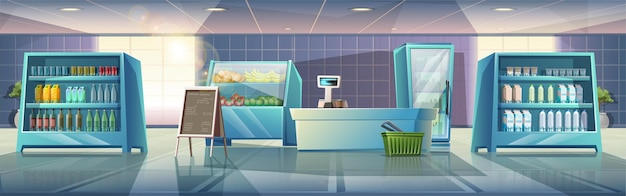Karikaturartillustration des inneren supermarktes mit vitrinen-lebensmittel- und lebensmittelkasse und menüstand