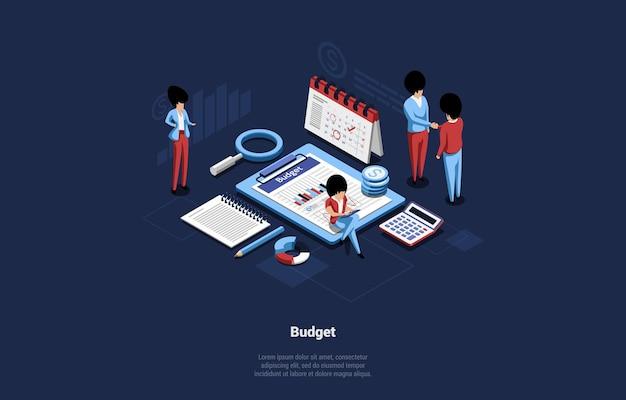Karikaturartillustration mit gruppe von leuten auf budgetplanungskonzept.
