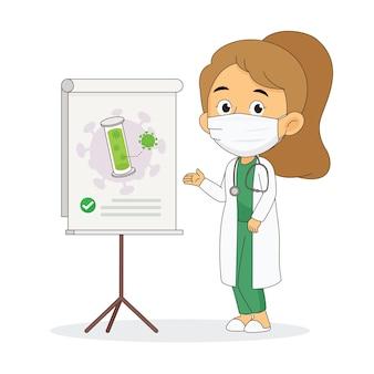 Karikaturarzt, der einen impfstoff hält, der mit corona covid-19 schützt