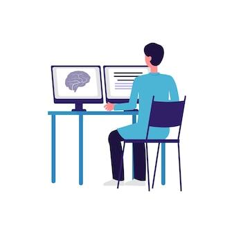 Karikaturarzt, der gehirn-scan-ergebnis auf computerbildschirm betrachtet