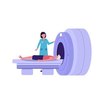 Karikaturarzt, der patienten in mrt-maschine setzt - flache isolierte vektorillustration. weibliche medizinische fachkraft, die krankenhausausrüstung für die gehirndiagnose verwendet.