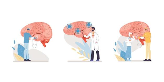 Karikaturarztfiguren in uniformen, laborkitteln mit medizinischen geräten und symbol-gehirnkrankheits-behandlungs- und therapiekonzept