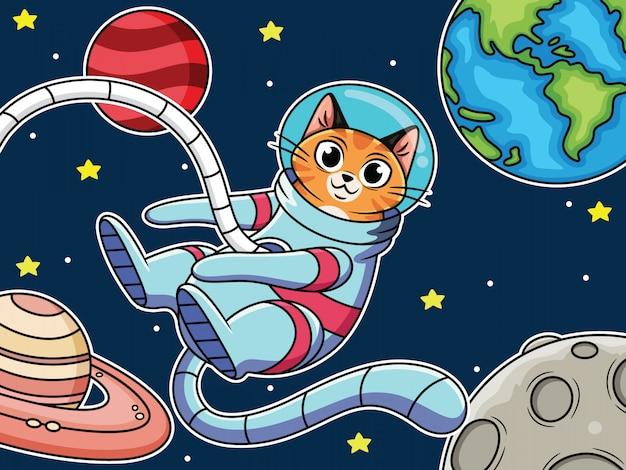Karikaturastronautenkatze, die im raum mit niedlichem ausdruck fliegt