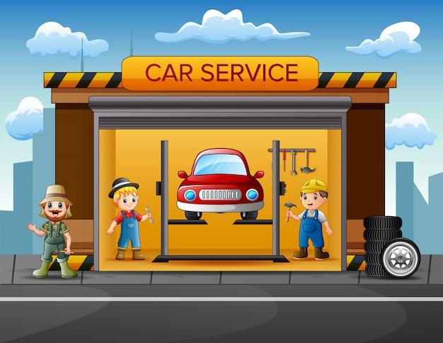 Karikaturautoreparaturgarage mit schlosser, auto und satz werkzeugen
