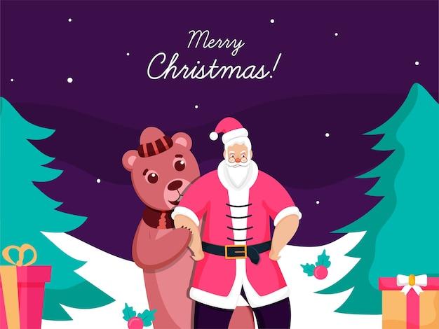 Karikaturbär hinter dem weihnachtsmann mit geschenkboxen