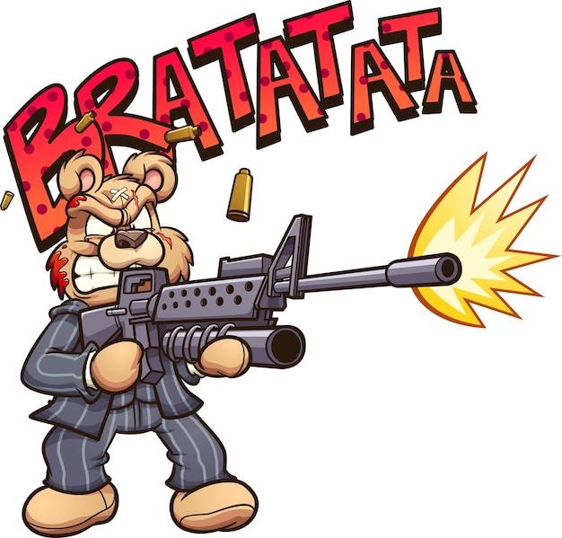 Karikaturbär mit narbe auf gesicht, das ein maschinengewehr schießt