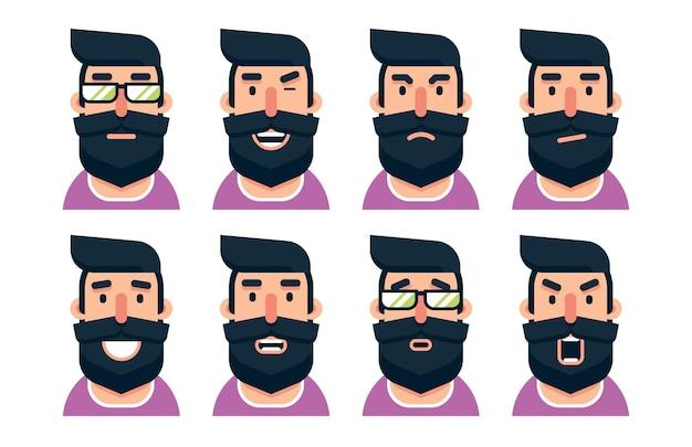 Karikaturbärtiger manncharakter mit verschiedenen gesichtsausdrücken