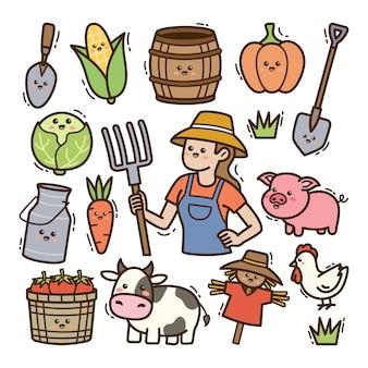Karikaturbauer mit kawaii gekritzelillustration der landwirtschaftlichen ausrüstung