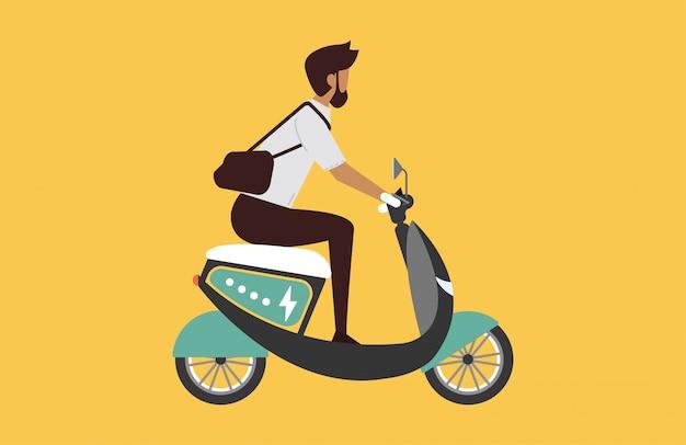 Karikaturbild mit dem mann, der schnelles modernes elektrisches moto reitet.